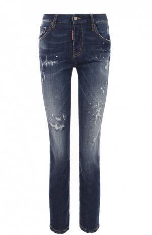 Укороченные джинсы-скинни с потертостями Dsquared2. Цвет: синий