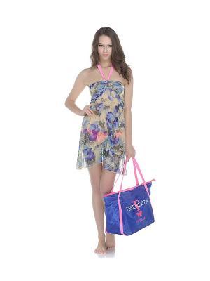 Платье Tenerezza. Цвет: синий, бежевый