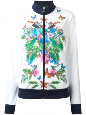 Спортивная куртка с тропическим принтом Ea7 Emporio Armani. Цвет: белый