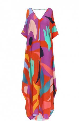 Шелковая туника с открытыми плечами и ярким принтом Lazul. Цвет: разноцветный
