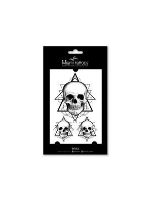 Переводные тату Skull Miami Tattoos. Цвет: черный