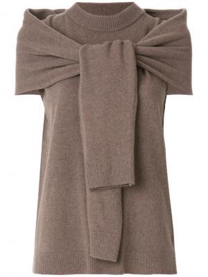 Классический трикотажный свитер Isa Arfen. Цвет: коричневый