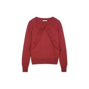 Пуловер шерстяной с воланами BARRIDA SESSUN. Цвет: красный,черный
