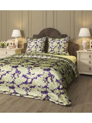 Комплект постельного белья Шик, семейный Сирень. Цвет: фиолетовый, бежевый, желтый