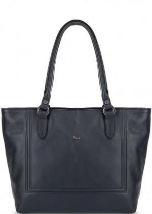Кожаная сумка с длинными ручками Bruno Rossi. Цвет: синий