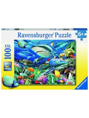 Пазл Акулы XXL 100 шт Ravensburger. Цвет: синий