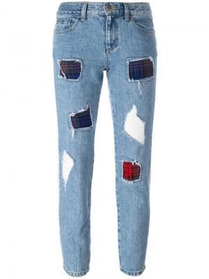 Укороченные рваные джинсы Steve J & Yoni P. Цвет: синий