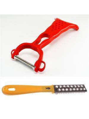 Нож для чистки овощей с 2-мя лезвиями и рыбочистка зеленая Радужки. Цвет: зеленый