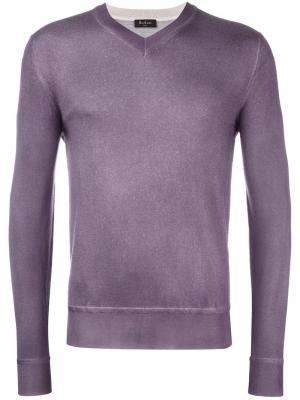 Джемпер с V-образным вырезом Berluti. Цвет: розовый и фиолетовый