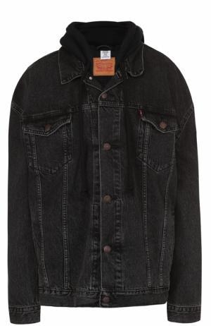 Джинсовая куртка свободного кроя с капюшоном Vetements. Цвет: черный