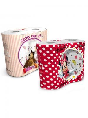 Набор из 4х бумажных полотенец Маша и Медведь Минни Маус 3-х слойные, 4 рул/80 л World Cart. Цвет: белый