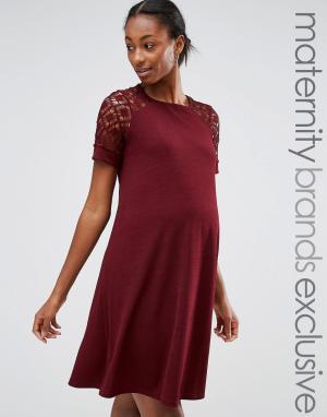Bluebelle Maternity Свободное платье для беременных с кружевными вставками Mater. Цвет: красный