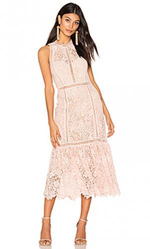Платье миди arella midi Rebecca Taylor. Цвет: розовый