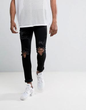 Mennace Черные обтягивающие джинсы с рваной отделкой. Цвет: черный