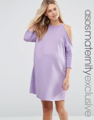 ASOS Maternity Трикотажное платье для беременных с вырезами на плечах. Цвет: розовый