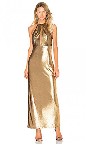 Платье макси с блестками ali House of Harlow 1960. Цвет: металлический золотой