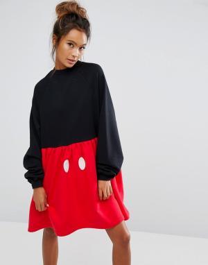 Lazy Oaf Платье-футболка с Микки Маусом X Disney. Цвет: черный