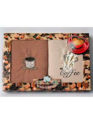 Подарочный набор из 2 вафельных полотенец кофе. Домтекс. Цвет: бледно-розовый, красный, антрацитовый