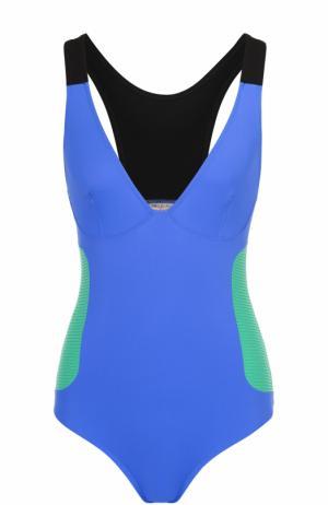 Слитный купальник с V-образным вырезом и контрастными вставками Emilio Pucci. Цвет: синий