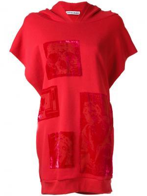 Devoré patch sleeveless hoodie Mikio Sakabe. Цвет: красный