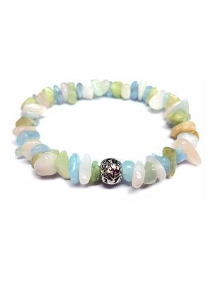 Браслет из разноцветного берилла - Хранитель Amorem. Цвет: светло-зеленый, светло-голубой, светло-бежевый, молочный, бледно-розовый, кремовый, белый