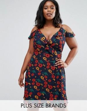Koko Платье с запахом, оборками и цветочным принтом Plus. Цвет: темно-синий