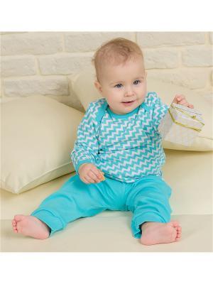 Пижама Веселый малыш. Цвет: бирюзовый, белый