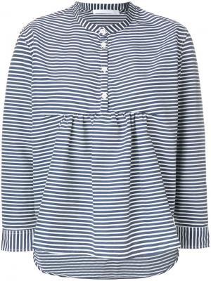 Рубашка в полоску без воротника Peter Jensen. Цвет: синий