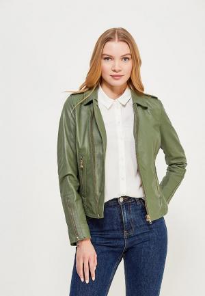 Куртка кожаная Oakwood. Цвет: зеленый