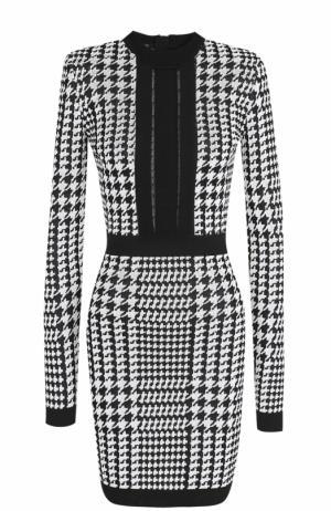 Платье-футляр с прозрачной вставкой и принтом гусиная лапка Balmain. Цвет: черно-белый