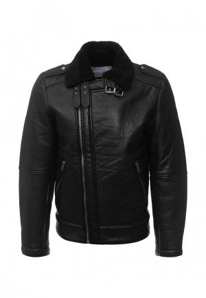 Куртка кожаная Bellfield. Цвет: черный