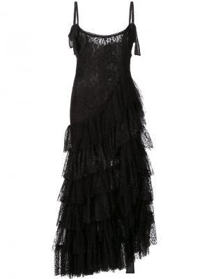 Платье с многоярусной юбкой Alessandra Rich. Цвет: чёрный