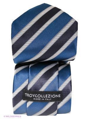 Галстук Troy collezione. Цвет: морская волна, серебристый, черный