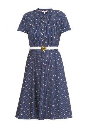 Платье из хлопка с ремнем 163247 Anna Verdi. Цвет: синий