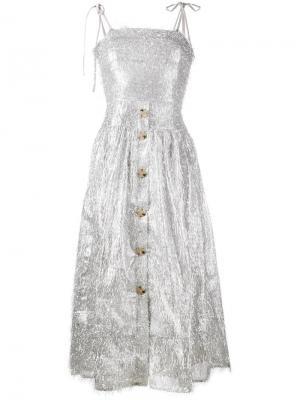 Платье без рукавов Issy с отделкой мишурой Rejina Pyo. Цвет: металлический