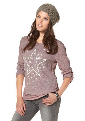 Пуловер 2 в 1 Aniston. Цвет: цвет мальвы/белый с рисунком