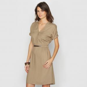 Платье из струящейся ткани, 100% вискозы ANNE WEYBURN. Цвет: хаки
