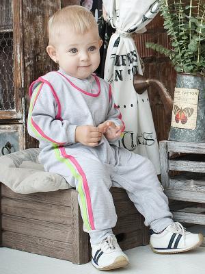 Ползунки, 2 шт. Lucky Child. Цвет: серый, розовый