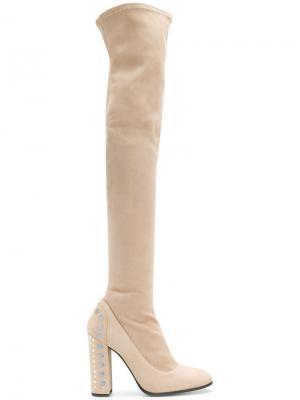 Ботфорты с декором на каблуке Fabi. Цвет: телесный