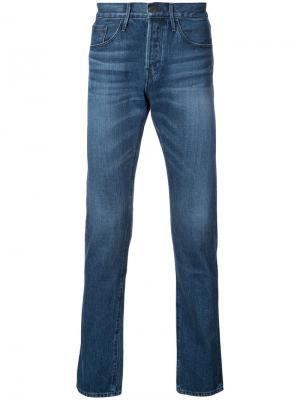 Узкие джинсы с отделкой селвидж 3X1. Цвет: синий