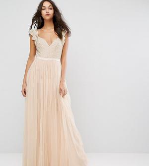 Needle & Thread Платье макси из тюля с рюшами на рукавах Swan. Цвет: розовый
