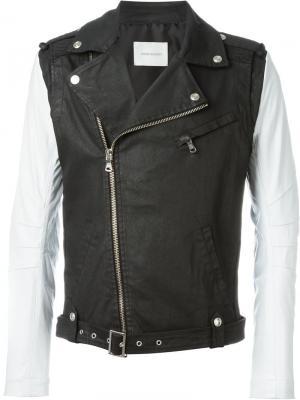 Байкерская куртка с контрастными рукавами Pierre Balmain. Цвет: чёрный