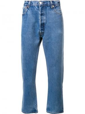 Хлопковые прямые джинсы Re/Done. Цвет: синий