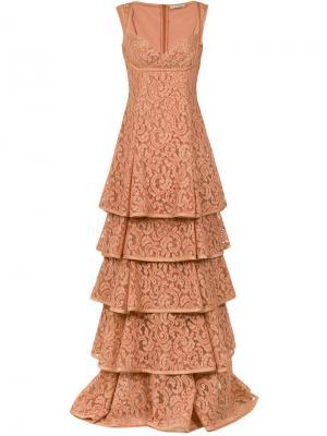 Lace maxi gown Martha Medeiros. Цвет: коричневый