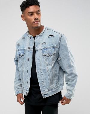 SikSilk Джинсовая куртка. Цвет: синий