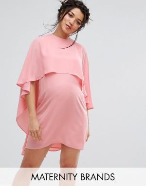 Queen Bee Свободное платье с кейпом Maternity. Цвет: розовый