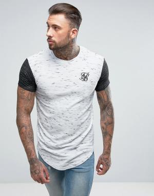 SikSilk Белая обтягивающая футболка из вафельного трикотажа. Цвет: белый
