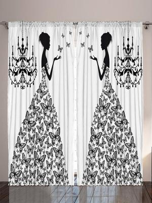 Плотные фотошторы Девушка в платье из бабочек, чёрно-белая графика, пальмы на песке, розовая маска Magic Lady. Цвет: белый, молочный, черный