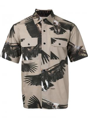 Рубашка с короткими рукавами и принтом орлов Yoshio Kubo. Цвет: коричневый