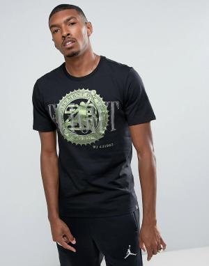 Jordan Черная футболка с принтом Nike Pure Money 844290-010. Цвет: черный
